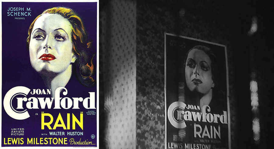 Poster for Lewis Milestone's Rain (1932) in A Mother Should Be Loved (1934)